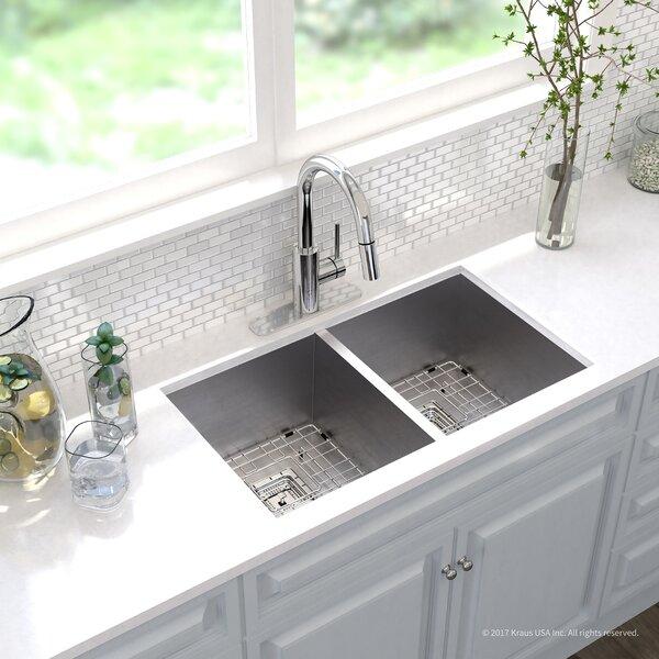 Pax™ Zero-Radius 16 Gauge Stainless Steel 31.5 x 18.5 Double Basin Undermount Kitchen Sink with Faucet by Kraus