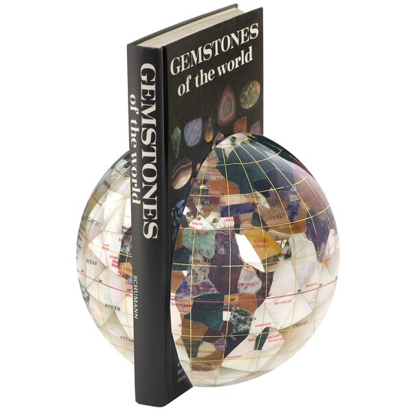 Gemstone Globe Book Ends (Set of 2) by Alexander Kalifano