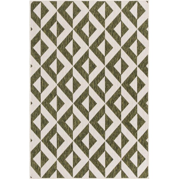 Milly Geometric Green/Ivory Indoor/Outdoor Area Rug