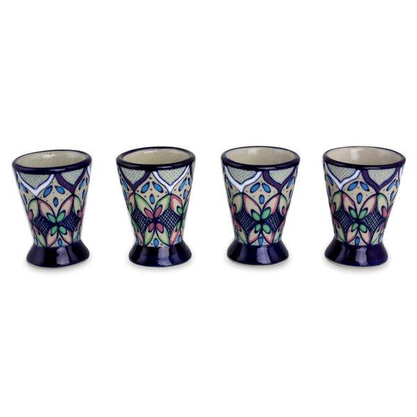 Mexican 1 oz. Ceramic Shot Glass (Set of 4) by Novica