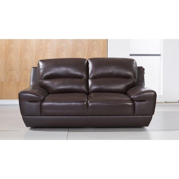 Hofstra Leather Loveseat By Orren Ellis