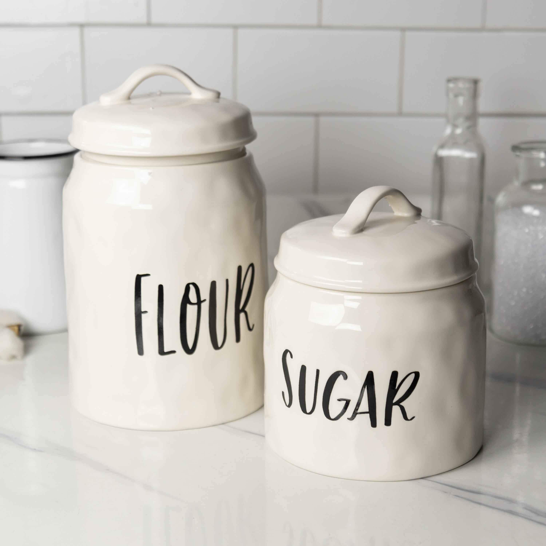Ceramic 2 Piece Coffee Tea And Sugar Jar Set