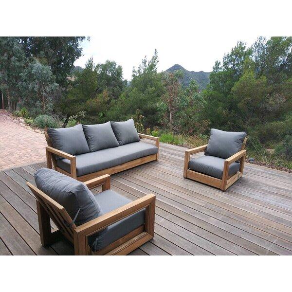 Helen 3 Piece Teak Sunbrella Sofa Seating Group with Sunbrella Cushions by Rosecliff Heights