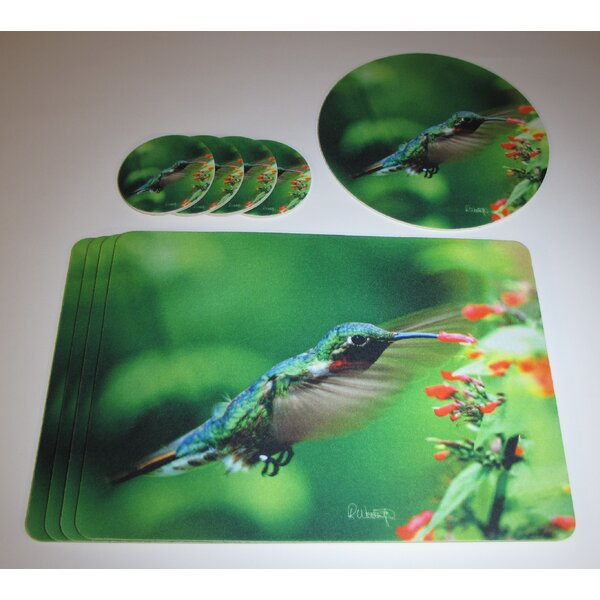9 Piece Hummingbird Design Tableguard Placemat Set by Metrotex Designs