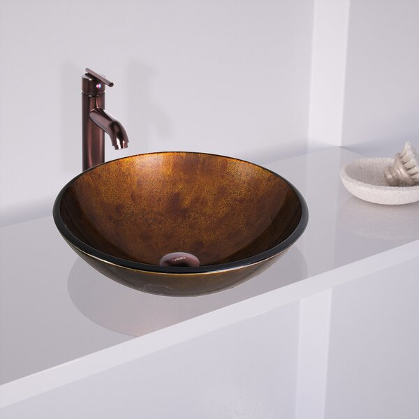 Russet Glass Circular Vessel Bathroom Sink with Faucet by VIGO