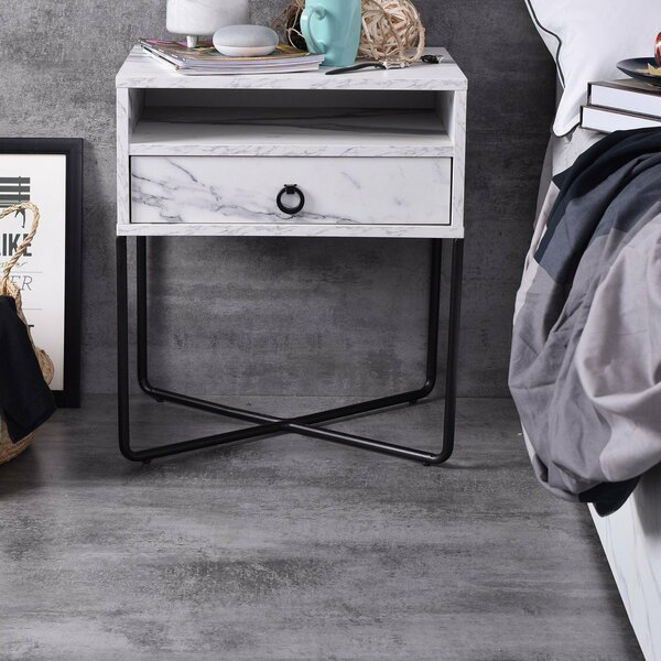 1 - Drawer Metal Nightstand In White By Emma's Design
