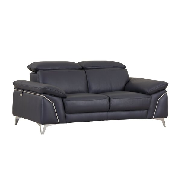 Alton Leather Loveseat by Orren Ellis
