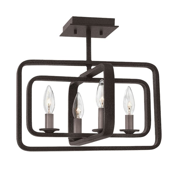 Fernand 4 - Light Candle Style Rectangle / Square Chandelier by 17 Stories 17 Stories