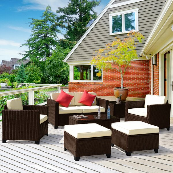 Whately 7 Piece Rattan Sofa Seating Group with Cushions by Ivy Bronx
