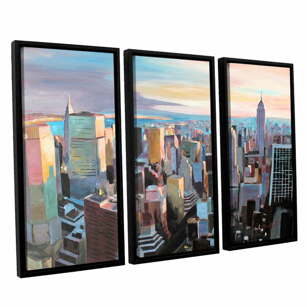 New York City Skyline in Sunlight by Marcus/Martina Bleichner 3 Piece Framed Painting Print Set by ArtWall