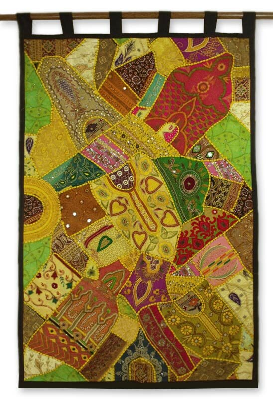 Novica Golden Daffodils Fair Trade Gujarati Cotton with Beadwork by ...