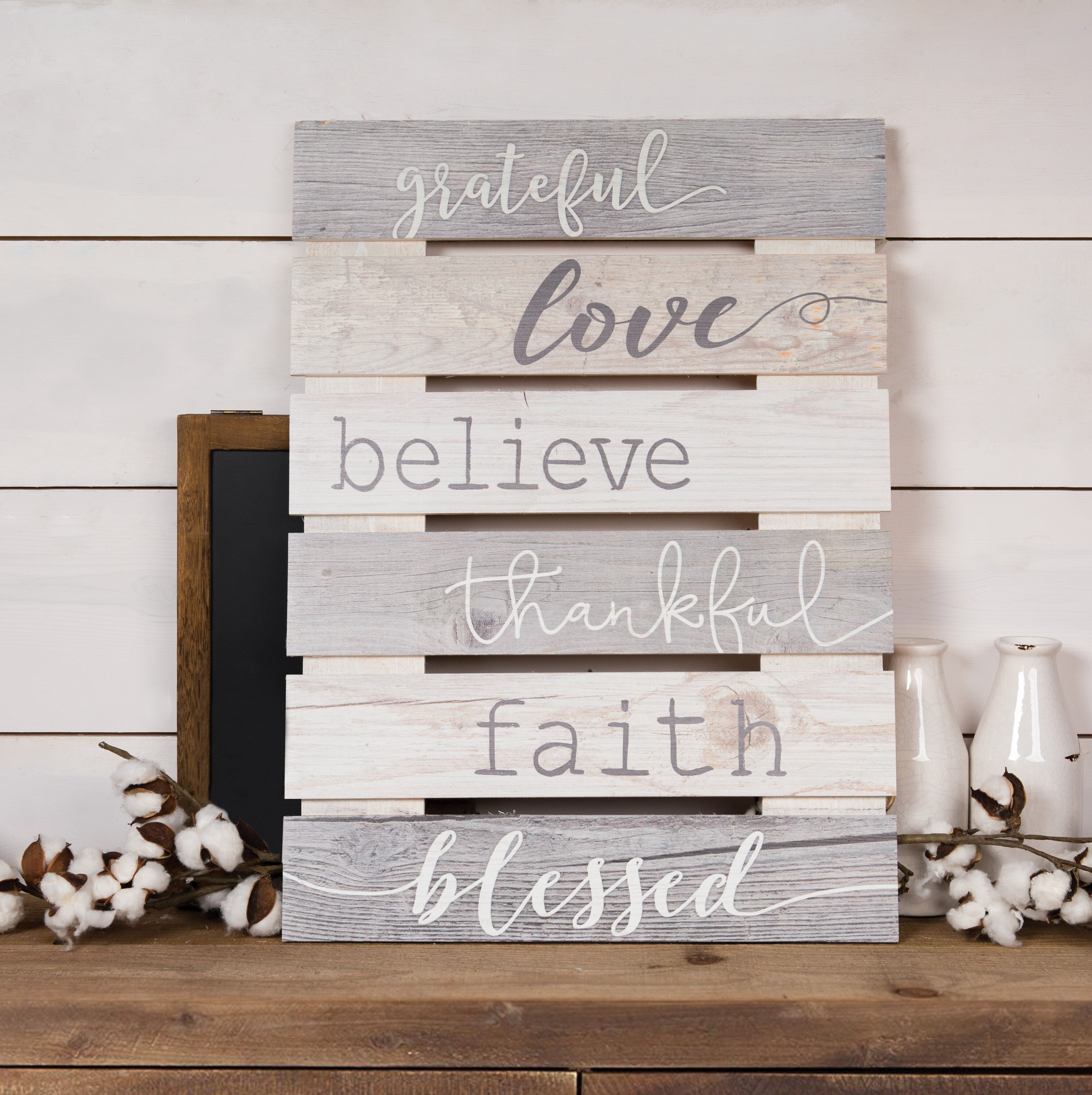 Home Decor Grateful Thankful Blessed Wood Wall Decor
