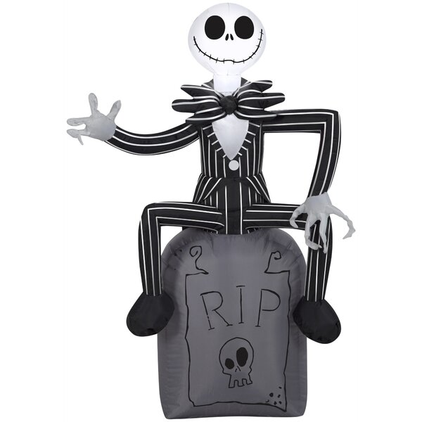 Disney Jack Skellington on Tombstone Inflatable by The Holiday Aisle