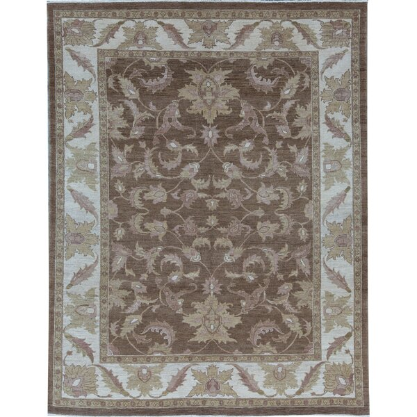 Sultanabad Oriental Hand-Knotted Wool Brown Area Rug