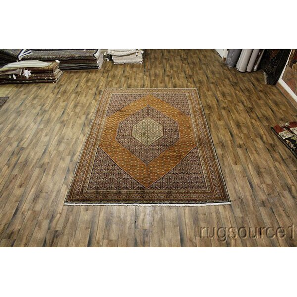 One-of-a-Kind Loraine Hand-Knotted 2010s Bidjar Brown 8'2 x 12'2 Wool Area Rug