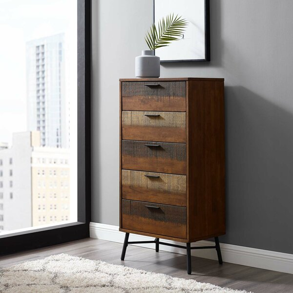 Borman Wood 5 Drawer Chest by World Menagerie