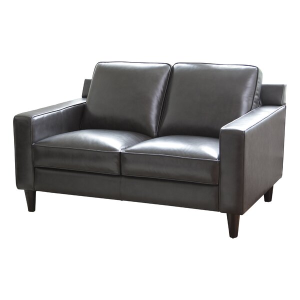 Nalston Leather Loveseat by Three Posts