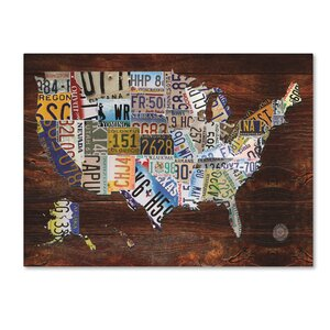 'USA License Plate Map on Wood' Graphic Art Print on Canvas by Trademark Fine Art