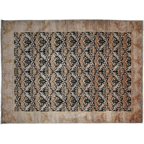 One-of-a-Kind Arts and Crafts Hand-Knotted Purple/Black Area Rug by Darya Rugs
