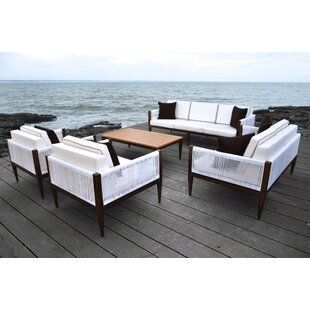 Freya 5 Piece Rattan Sofa Set with Cushions By Solis Patio