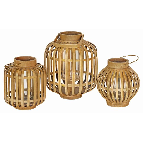 Bamboo/Glass Lantern by Bay Isle Home