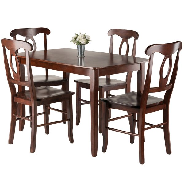 Shuman 5 Piece Solid Wood Dining Set by Red Barrel Studio