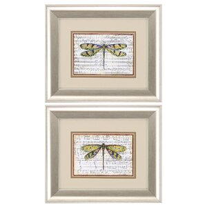 'Dragonfly' 2 Piece Framed Painting Print Set by Ophelia & Co.