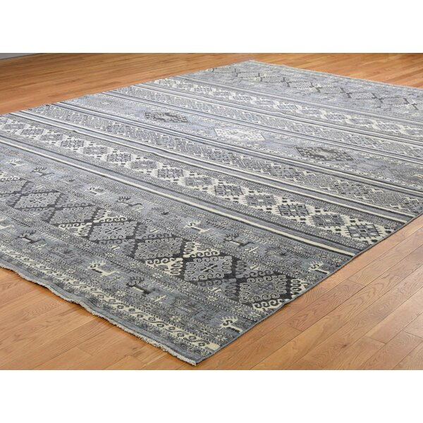 One-of-a-Kind Fonville Hand-Knotted Gray 10' x 13'6 Wool Area Rug