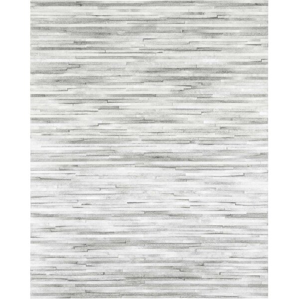Jenga Cowhide Hand-Woven Light Gray Area Rug by Modloft
