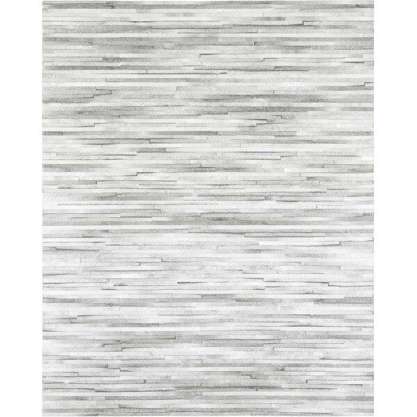 Jenga Cowhide Hand-Woven Light Gray Area Rug by Modloft