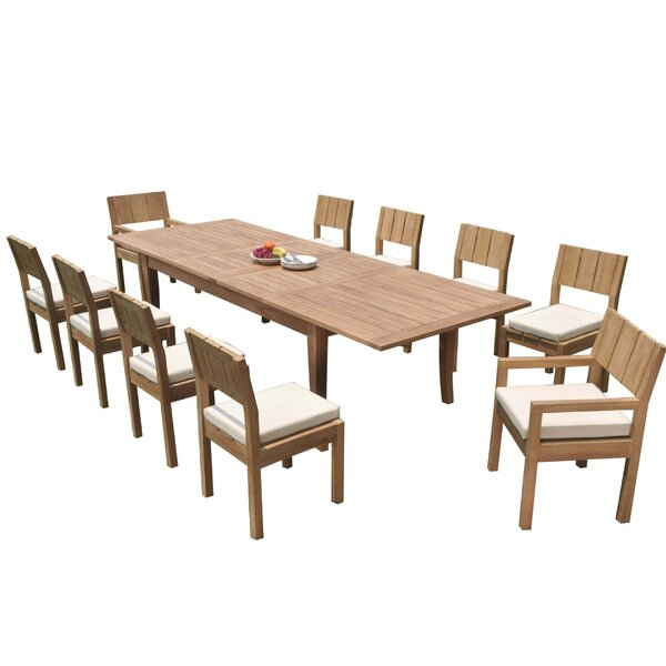 Lurmont 11 Piece Teak Dining Set by Rosecliff Heights
