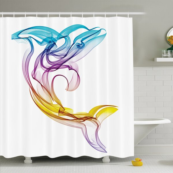 Sea Animals Dolphin Figure with Ornamentals Abstract Art Aquatic Animal Illustration Image Shower Curtain Set by Ambesonne