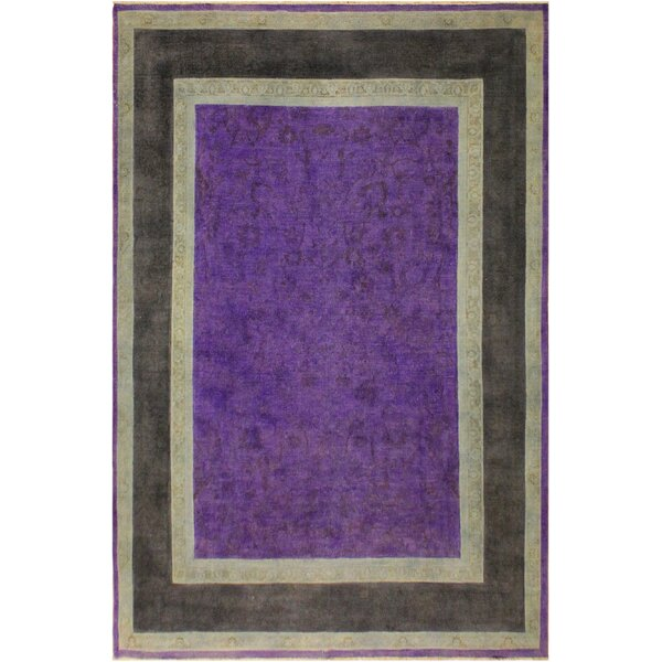 One-of-a-Kind Gatley Overdyed Color Reform Hand-Knotted Wool Purple/Charcoal Area Rug by Bloomsbury Market