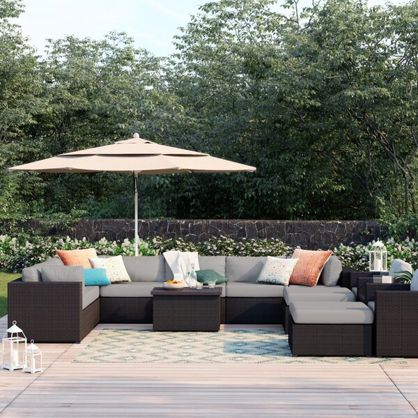 Fernando 13 Piece Rattan Sectional Seating Group with Cushions by Sol 72 Outdoor