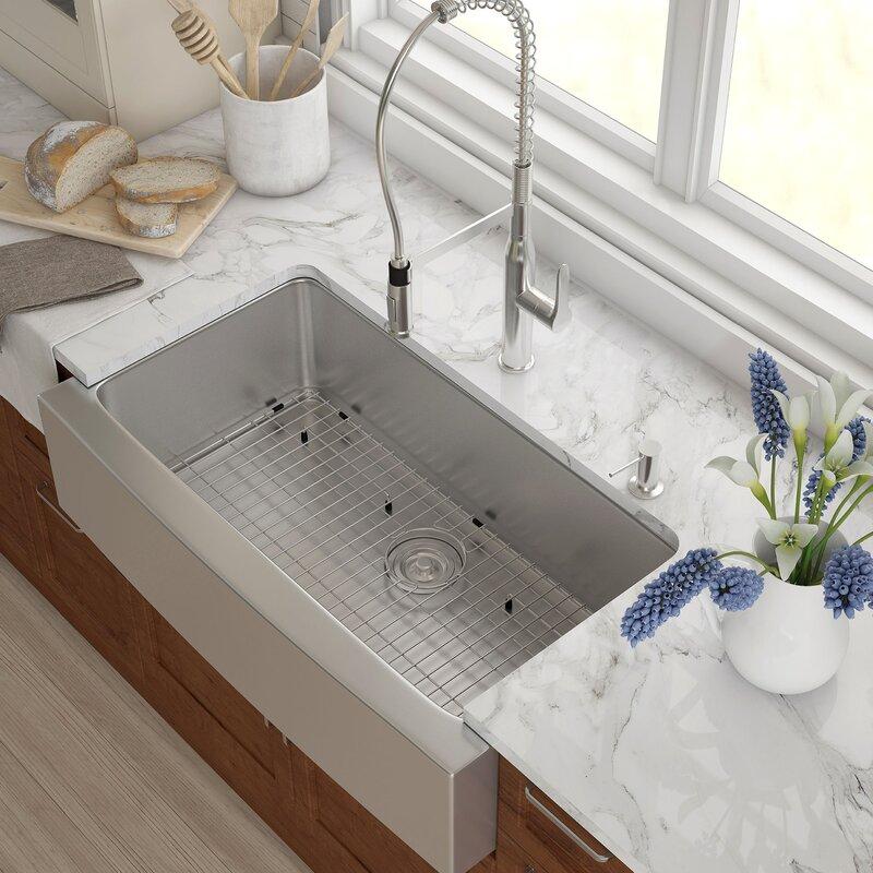 "27 Inch Farmhouse Sink: Kraus 36"" X 21"" Farmhouse Kitchen Sink With Drain Assembly"