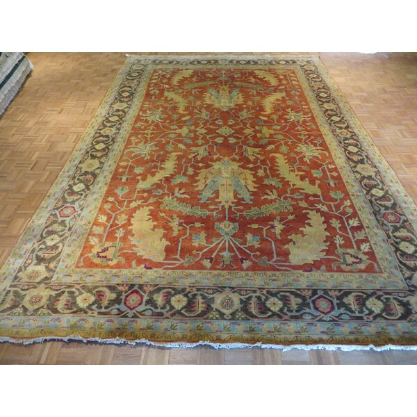 One-of-a-Kind Josephson Antiqued Serapi Heriz Hand-Knotted Rust Orange Area Rug by Canora Grey