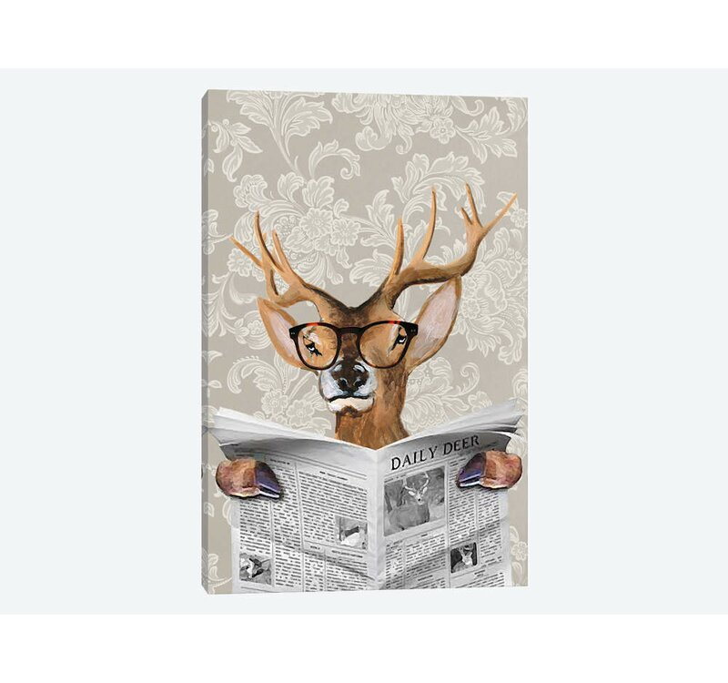 East Urban Home Deer Reading Newspaper Bycoco De Paris Graphic Art Print On Wrapped Canvas Wayfair