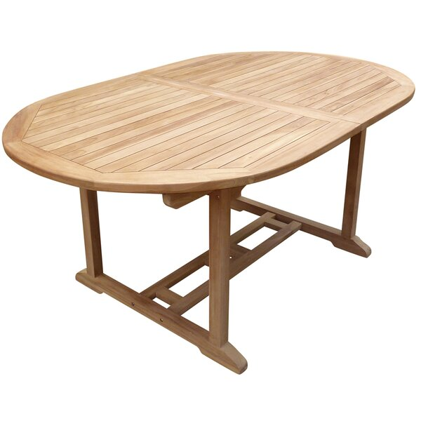 Cossette Oval Extendable Teak Dining Table by Highland Dunes