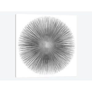 Silver Sunburst I Graphic Art on Wrapped Canvas by East Urban Home