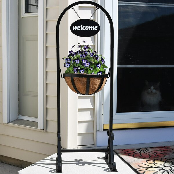 Malt Outdoor Welcome Sign with Hanging Basket Plant Stand by Fleur De Lis Living| @ $65.95
