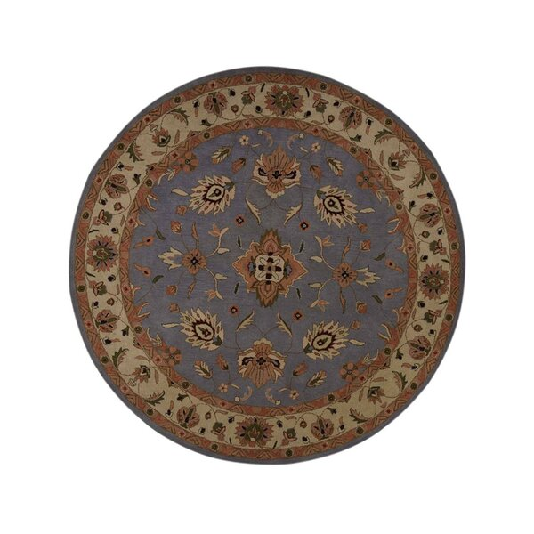 Hayley Agra Kashan Oriental Hand-Tufted Wool Brown/Blue Area Rug by Charlton Home