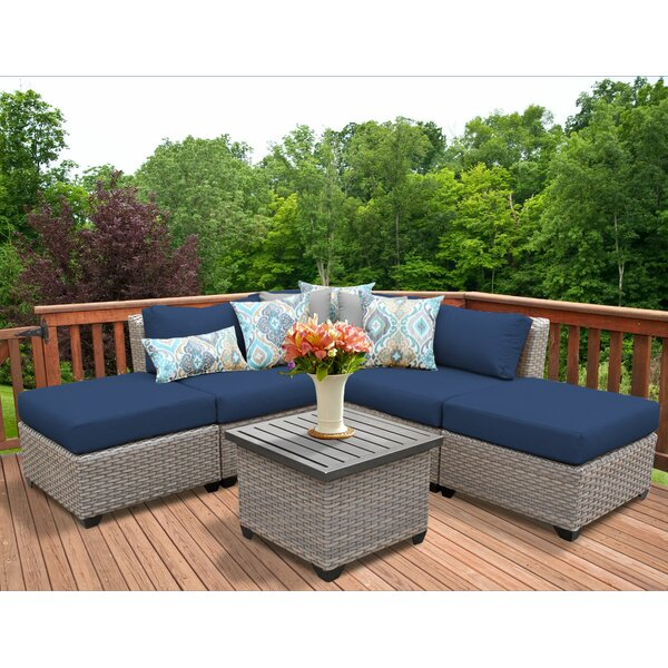 Meeks 6 Piece Rattan Sectional Seating Group with Cushions by Rosecliff Heights