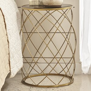 Milburn Convex Round Metal End Table with Gl..
