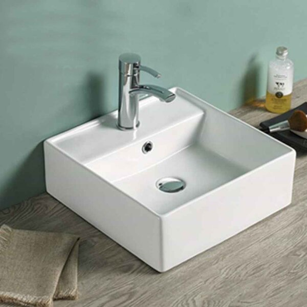 Above Counter for 1 Hole Center Drilling Ceramic Square Vessel Bathroom Sink with Overflow