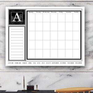Dry Erase Monthly Calendar Memo Board