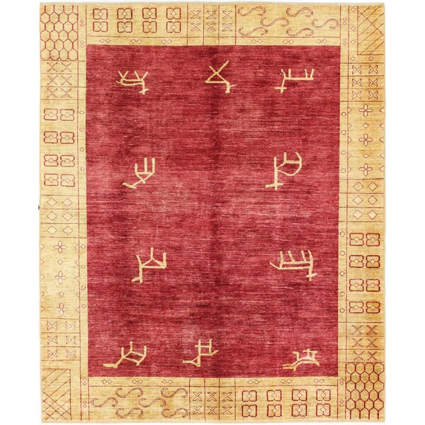 One-of-a-Kind Wickline Hand-Woven Wool Red/Gold Area Rug by Loon Peak