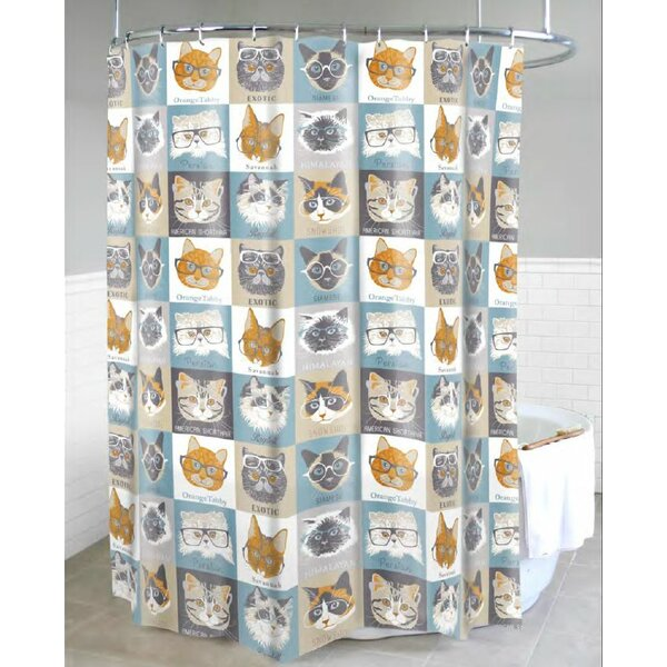 Chacon Cats with Glasses Shower Curtain by Latitude Run