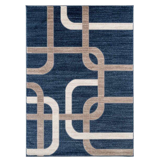 Barksdale Modern Navy/Beige Area Rug by Wrought Studio