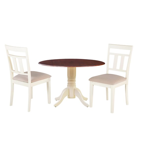 Darius 3 Piece Drop Leaf Solid Wood Dining Set by Millwood Pines