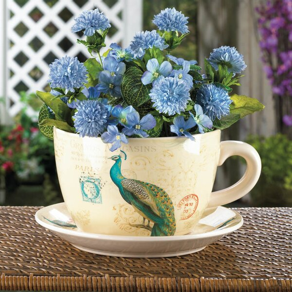 Dolomite Pot Planter with Saucer by Zingz & Thingz